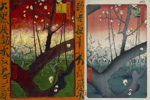 Van Gogh to the left and Hiroshige to the right