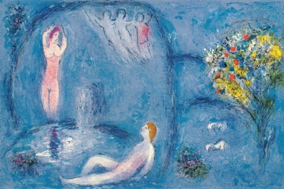 Dafni e Cloe alla sorgente,Chagall, illustrazioni per le Mille e una notte
